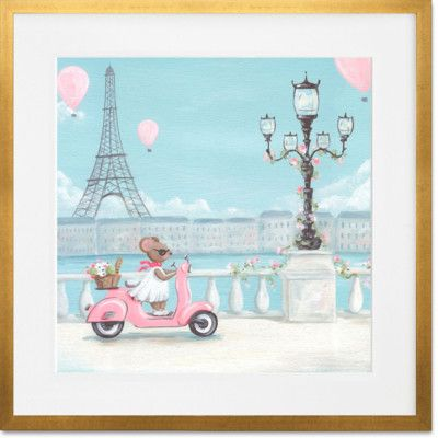 GreenBox Art 'Little Pink Vespa' by Kris Langenberg Framed Painting Print Frame Color: