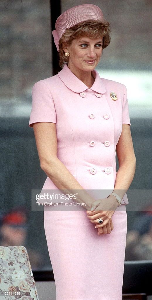 Princess Diana Wearing A Suit By Fashion Designers Versace For A Visit To A Regiment (Photo by Tim Graham/Getty Images)
