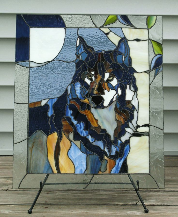 Stained Glass Wolf - My Lonely Blue Wolf in outside light. Love and miss this guy. But I get to see him from time to time. : ) To the moon and back <3