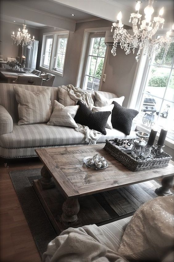 Just looks cozy! (But Id replace the crystal chandeliers with drum shade chandeliers for a more modern look,)