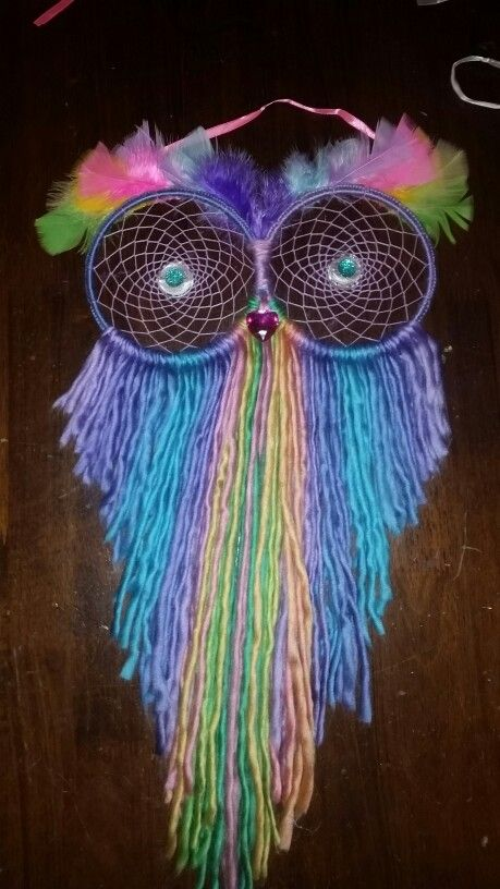Rainbow owl dream catcher made with love for my niece