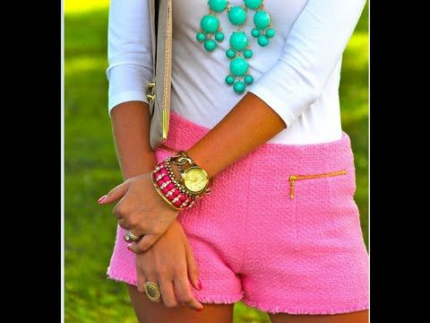 Fashion short pink and white style