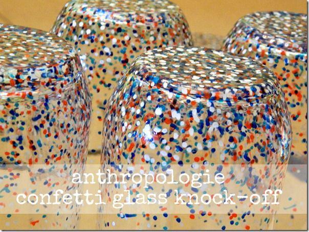 Confetti Glasses DIY: Glasses Painting, Diy Anthropologie, Confetti Glasses, Anthropologie Confetti, Painting Pens On Glasses, Glasses Tutorials, Glasses Diy, Anthropology Diy Glasses, Knock Off