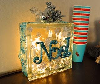 Noel glass block decor xmas decorations pinterest - Glass block decoration ideas ...