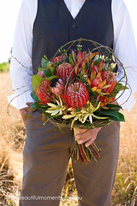 Tropical Bouquet Banksia Leucadendron With Armature