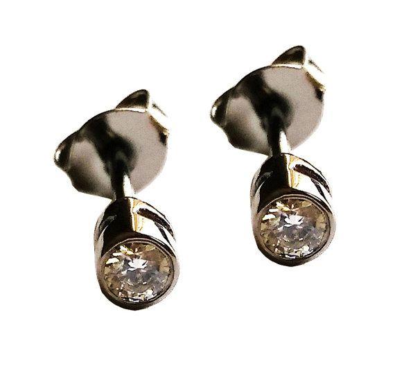 Nero rotondo Stud diamante orecchini Solid di DragatakisJewellery