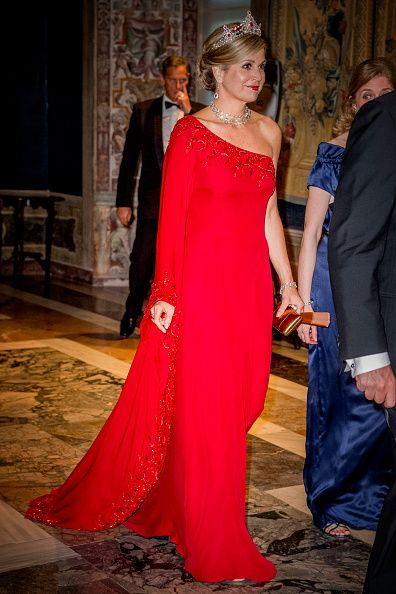 Queen Maxima of The Netherlands attend the official state banquet presented by President Sergio Mattarella and his daughter Laura Mattarella at the Palazzo del Quirinale during the first day of a royal state visit to Italy at on June 20, 2017 in Rome, Italy