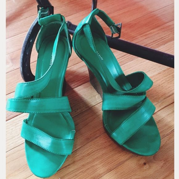 Green wedges Emerald green wedges. Dark brown wedge. Worn twice. Old Navy Shoes
