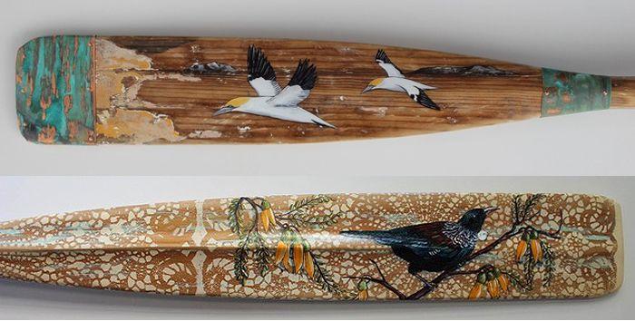 Intricate artwork on vintage oars by Justine Hawksworth