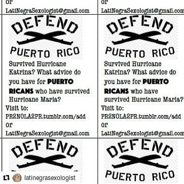 Support! #Repost @latinegrasexologist (@get_repost)    DEFEND PUERTO RICO. Are you someone who survived Hurricane Katrina and have remedies and strategies to offer Puerto Ricans surviving Huracán Maria? Send your bits and remedies to PR2NOLA2PR.tumblr.com or email to LatiNegraSexologist@gmail.com I will translate and share zine style. Send your old PR travel guides! Please share! #femmeinmourning http://ift.tt/2Eki9Sd Follow #ADPhD on IG: @afrxdiasporaphd http://ift.tt/2FZPToj