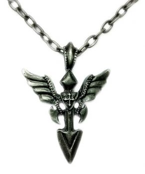 Necklace Spear with Wings Pendant