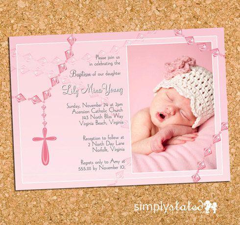 12 best christening invites images on Pinterest Cards, Invitations - invitation for baptism girl