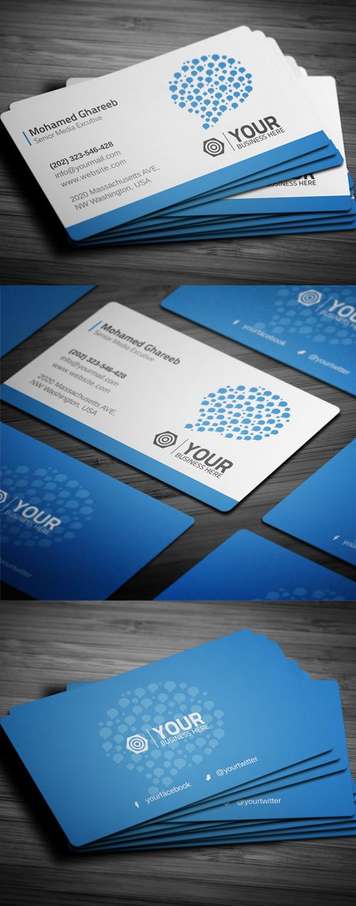 Creative Social Media Business Card #businesscards #printready #psdtemplates