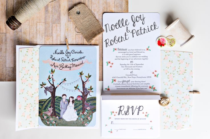 The Illustrated Wedding Invitations at Greenhill Farm