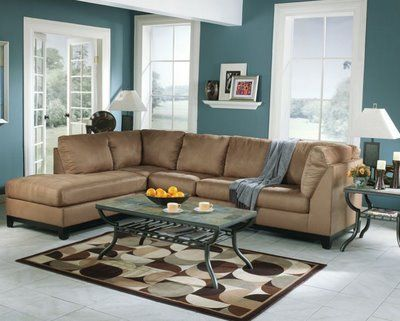 brown and Blue Living Room | The Best Living Room Paint Color Ideas with Brown Furniture
