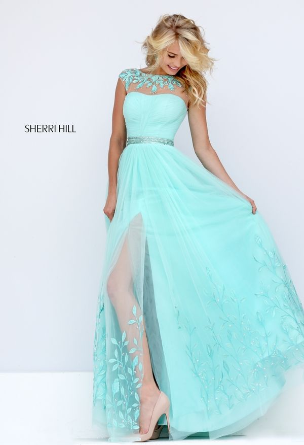 Sherri Hill Style 50187:Sherri Hill Prom, Spring 2016, Dress, Belt, Illusion Neckline, Slit, Colors: mint, ivory, light coral