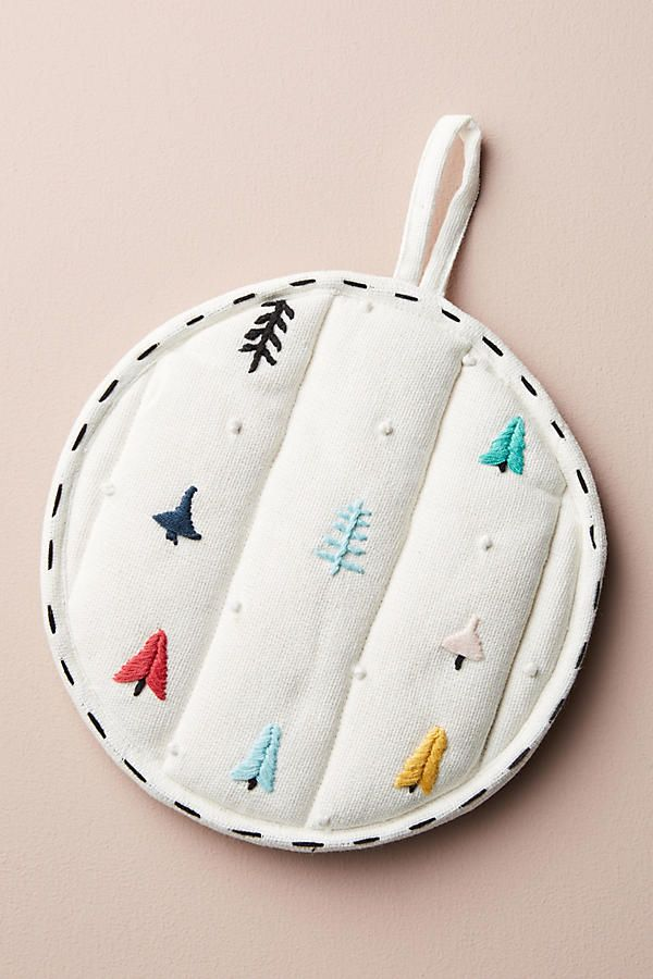 Slide View: 1: Embroidered Tree Pot Holder