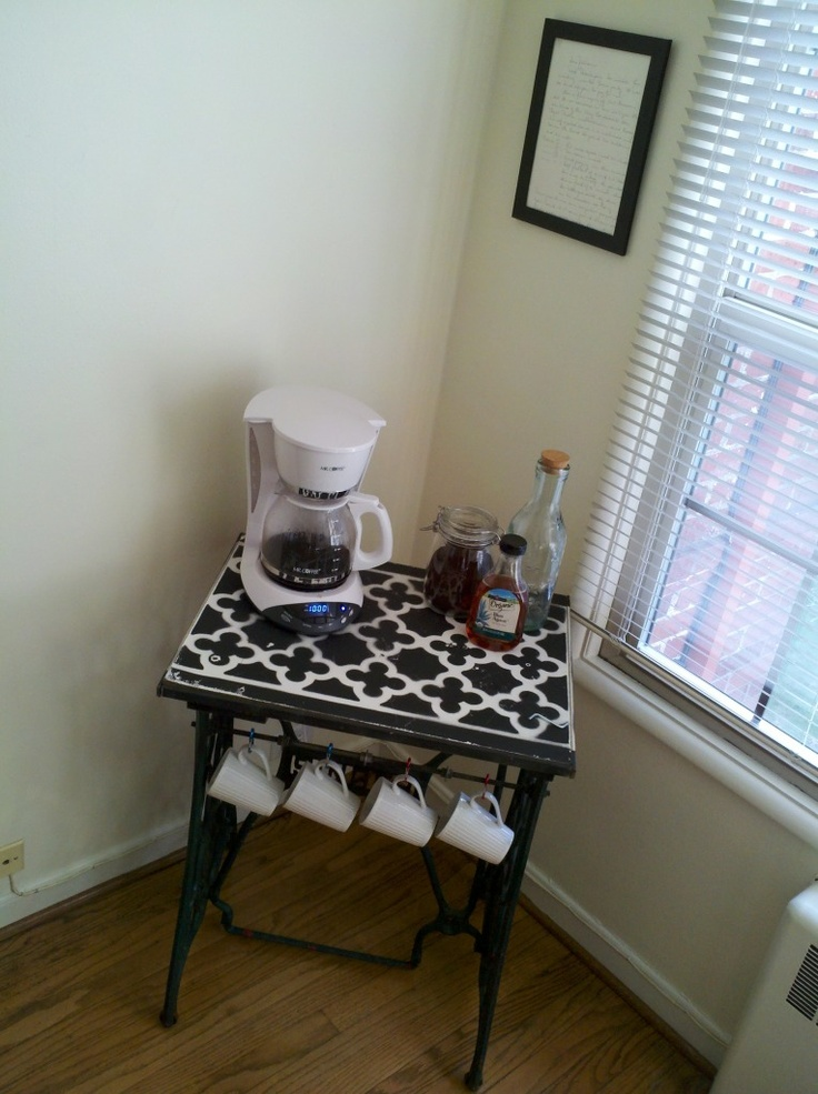 sewing table as coffee station sew many sewing tables