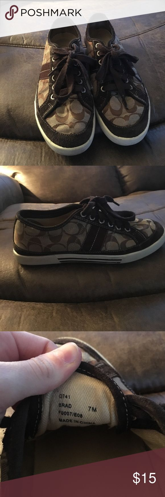 AUTHENTIC* Coach Tennis Shoes These Coach shoes are so cute and comfy. I loved them, and they are still in good condition!  They say size 7 on the inside but I bought them when I was a size 8 and they fit. So size 7-8 they will fit! Coach Shoes Sneakers