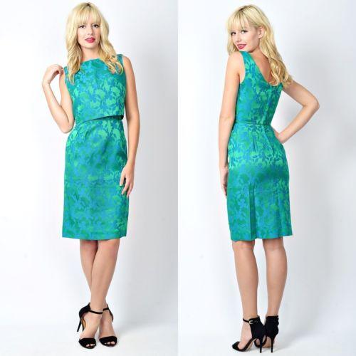 Vtg 60s 70s Blue + Green Floral Cocktail Dress 2 Piece Top Floral Mad Men XS S