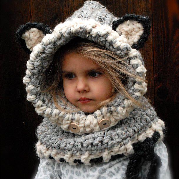 cedd3f2ae2d3d Tour de cou à capuche pour enfant | Activtés avec les enfants | Echarpe  laine, Tour de cou tricot et Bonnet tricot