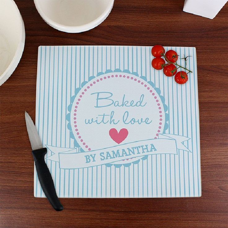 Baked With Love Personalised Glass Chopping Board
