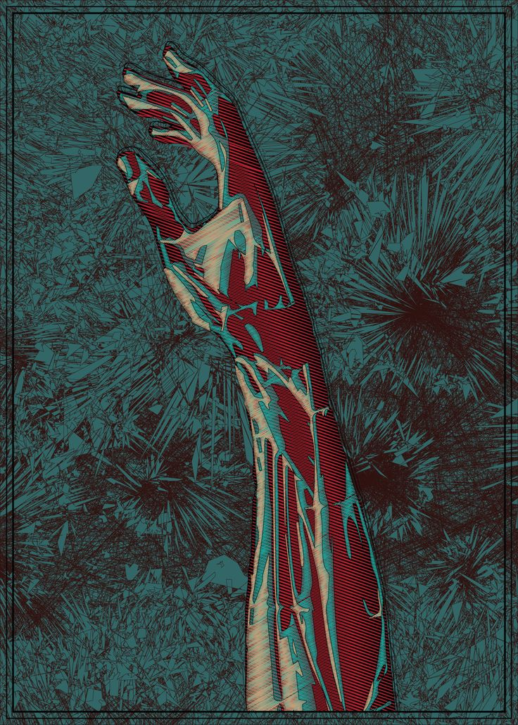 Perhaps the hand of zombie, created vector graphics and psychedelic blue flowers.