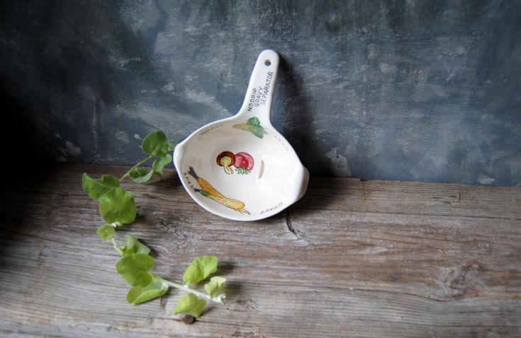 Vintage Gravy Separator / No Drip Gravy Boat / 1950s Gravy Server / Kitchen Accessory / Hand Painted Vegetable Design by Untried on Etsy