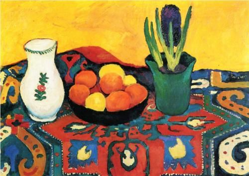 Still lifehyacinthscarpet - August Macke: Oil Paintings, Still Life, Art Prints, German Expressions, Life Hyacinth Carpets, Life Painters, Colors Inspirationoil, August Mack, Hyacinth Posters