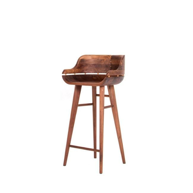 Low Back Bar Stool Is Here Mid Century Modern Bar Stool With A Backrest Solid American Walnut Wood Material An Bar Stools Walnut Stools Bar Stools With Backs