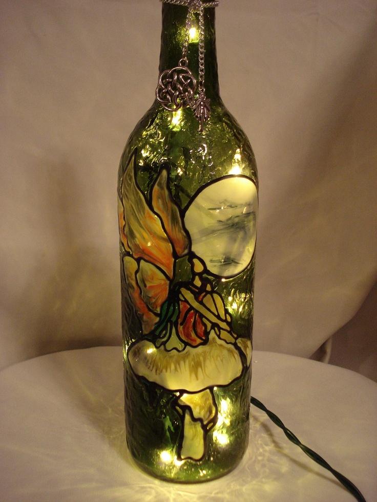 Mushroom Fairy Full Moon Recycled Wine Bottle Lamp ...
