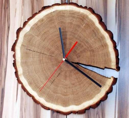 Duży zegar z plastra dębu z korą, drewniany zegar Osiek - image 3