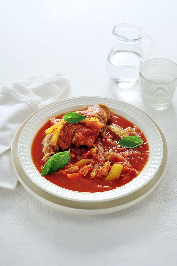 Recepten - Konijn met paprika's