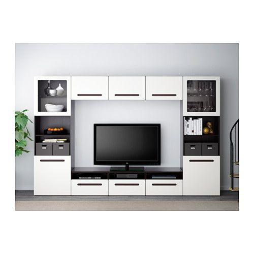 BESTÅ Kombinasi penyimpanan TV/pintu kaca - rel laci, tutup-lembut, hitam-cokelat/Marviken kaca bening putih - IKEA