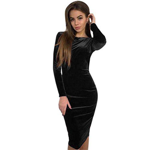 Robes GreatestPAK Sexy Femmes O Cou À Manches Longues Robe Dos Nu Moulante  Soirée