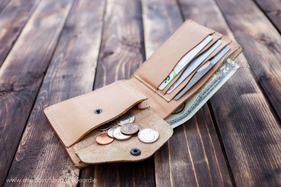Coin pocket wallet natural genuine leather wallet mans slim wallet card holder credit card wallet billfold wallet minimal wallet travel gift