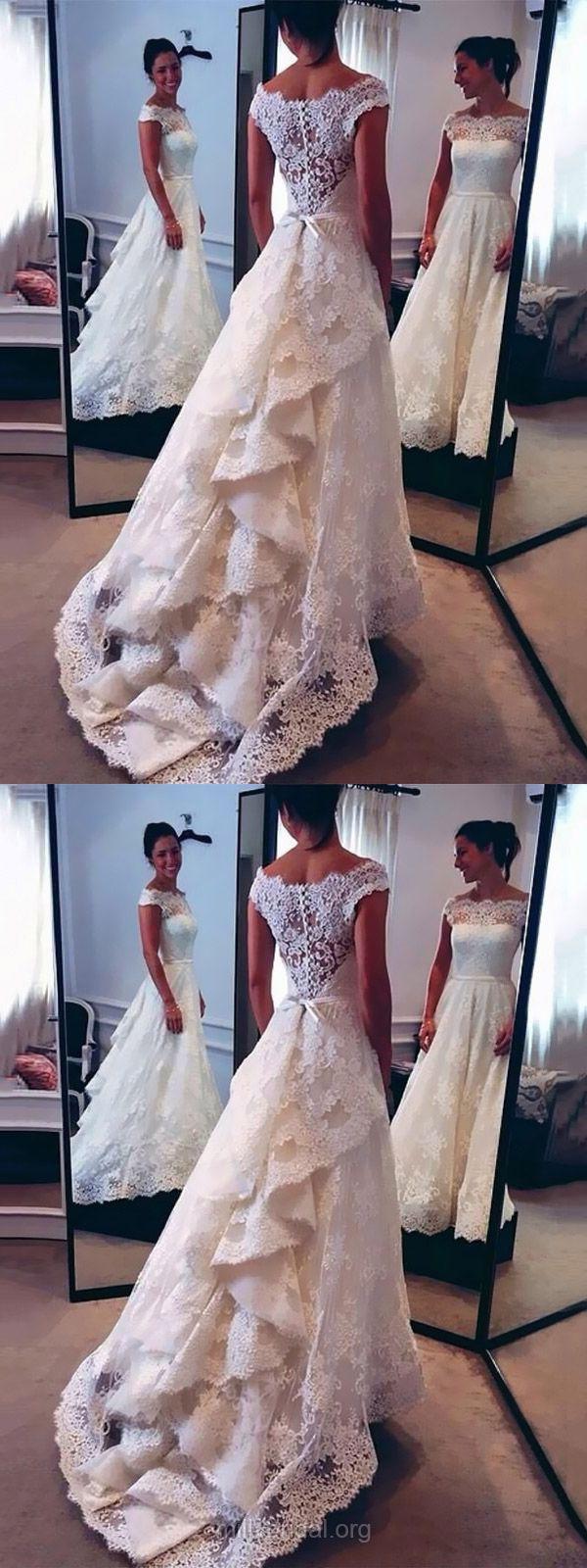 Cheap Wedding Dresses A-line, Lace Bridal Dresses 2018, Modest Wedding Dresses Scalloped Neck Watteau Train,  Sexy Wedding Dresses For Women Simple Online