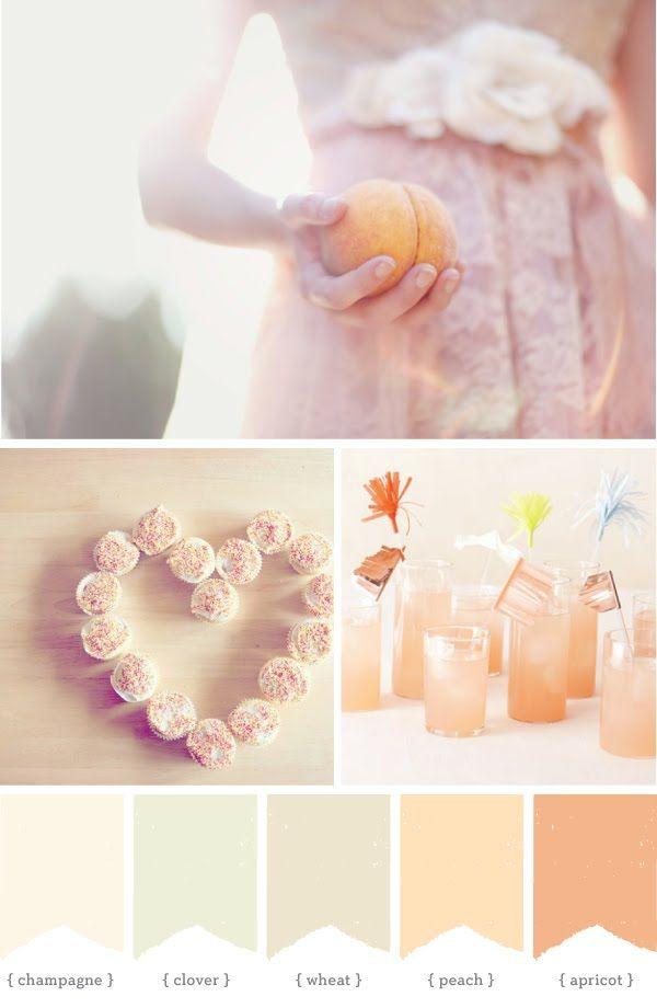 sea glass, ecru, light peach, glacier and wisteriaPink Wedding, Apricot Colors Palettes, Colours Schemes, Colors Schemes, Colors Swatches, Colors Boards, Colours Palettes, Champagne Colors Palettes, Colors Inspiration