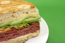 Irish Beer Cheddar with Avocado Slices on a Corned Beef Sandwich - The Ploughman's Sandwich #Avocados #StPatricksDay
