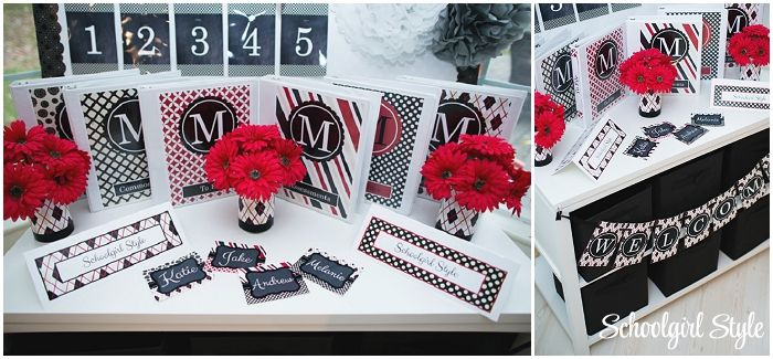 Red Black Gray Apple Polka Dots argyle classroom theme and decor by Schoolgirl Style www.schoolgirlstyle.com