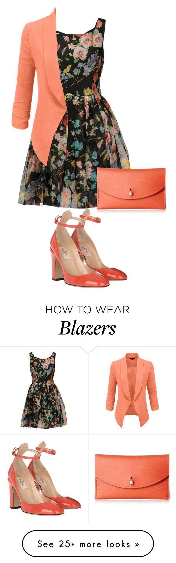"""Orange Blazer"" by pure-vnom on Polyvore featuring Dolce&Gabbana, LE3NO, Valentino and Skagen"
