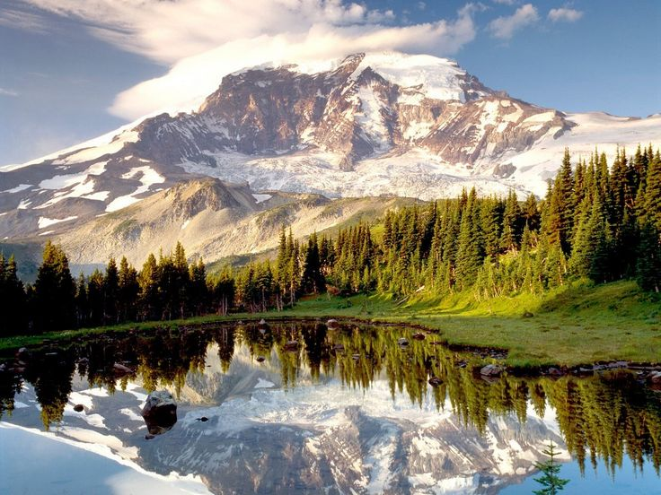 Pictures of Mount Rainier at sunset and being climbed