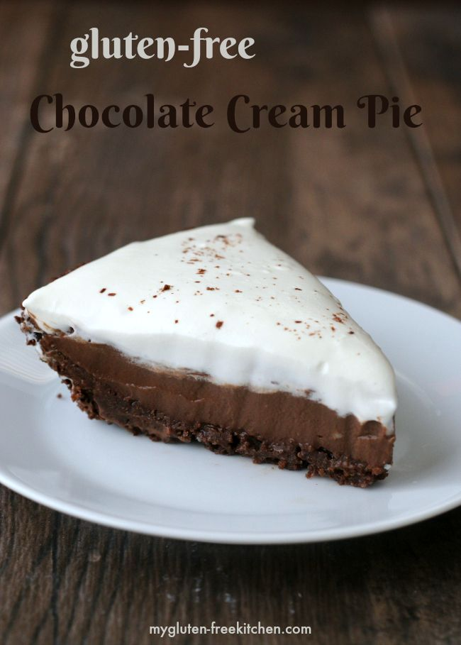 Gluten-free Chocolate Cream Pie with chocolate cookie crust. No one will guess this is gluten-free! So yummy!