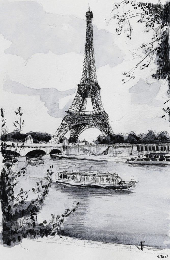 La Seine et la Tour Eiffel. Black ink drawing. By Nicolas Jolly. #drawing #watercolor #painting #art