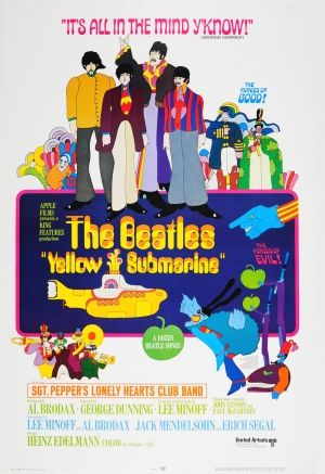 The Beatles Yellow Submarine, 1968 - original vintage movie poster by Heinz Edelmann for the animated film The Beatles Yellow Submarine starring Sgt. Pepper's Lonely Hearts Club Band listed on AntikBar.co.uk