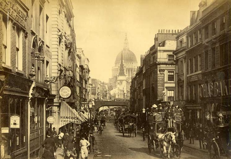 James Valentine (S862)    View Saint Paul, taking Fleet street, vintage albumen print. Circa 1880.