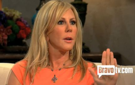 Vicki Gunvalson's Real Housewives of Orange County Season 8 Reunion Dress, Earrings, Necklace and Bracelets DETAILS: http://www.bigblondehair.com/real-housewives/rhoc/vicki-gunvalsons-coral-orange-peplum-season-8-reunion-dress/