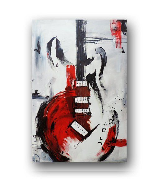 Guitar Painting Red White