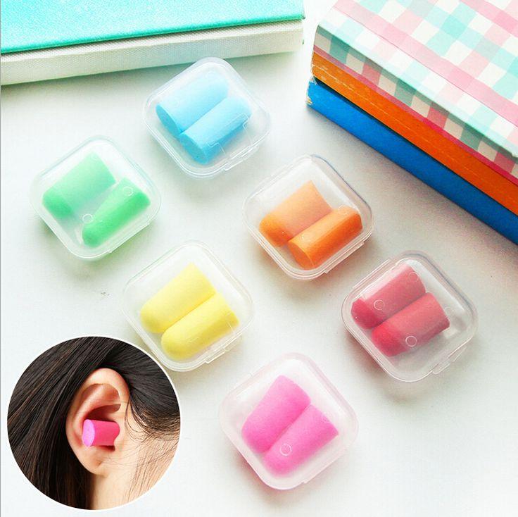 L18 5 Pair Permen Ear plugs Ear Protector Anti Kebisingan Penelitian Tidur Pembantu Kerja Earplug Busa Kotak Kemasan Plastik