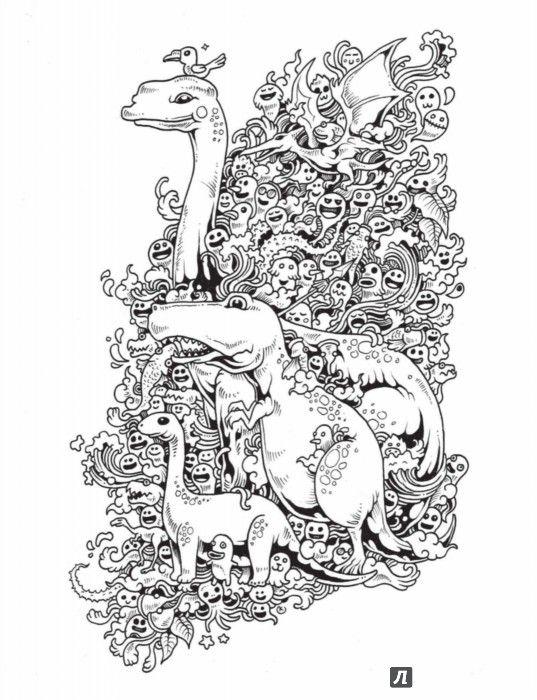 Иллюстрация 5 из 67 для Вторжение дудлов. Не самая обычная раскраска для взрослых - Зиффлин | Лабиринт - книги. Источник: Лабиринт